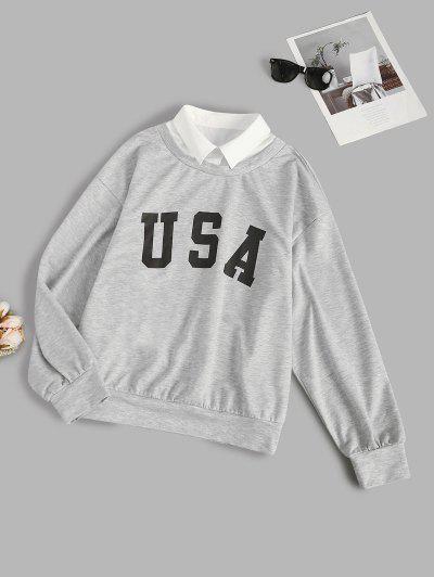ZAFUL Letter Graphic Contrast Collar Combo Sweatshirt - Light Gray Xl