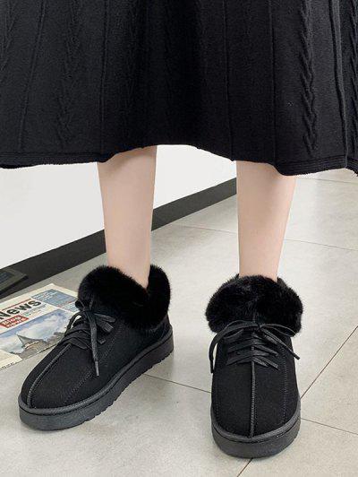 Lace Up Fluffy Flat Snow Boots - Black Eu 38