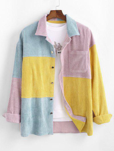 Colorblock Corduroy Pocket Long Sleeve Shirt - Multi 2xl
