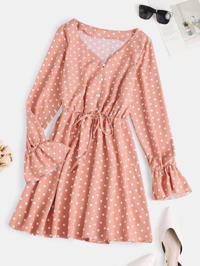 Button Loop Poet Sleeve  Polka Dot Mini Dress - Light Pink S
