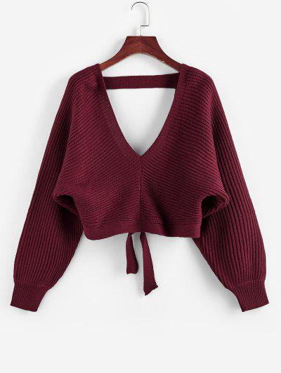 ZAFUL Tie Back Plunging Batwing Sleeve Sweater - Red Wine L