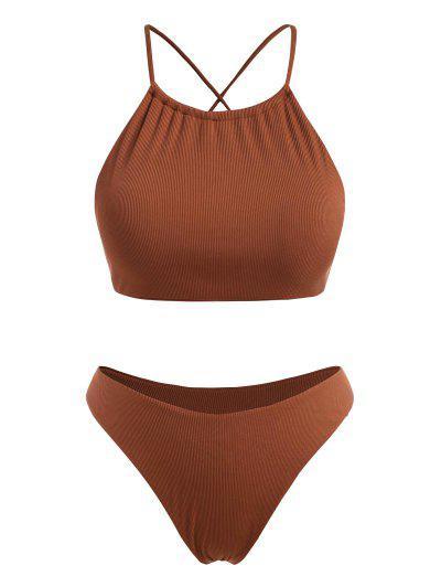 ZAFUL Plus Size Ribbed Crisscross Back High Leg Bikini Swimwear - Coffee Xl