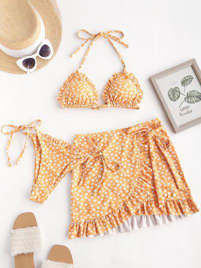 ZAFUL Gebundener Seitliche Ditsy Blumen Dreiteilige Stück Schnur Bikini Badebekleidung - Gelb S