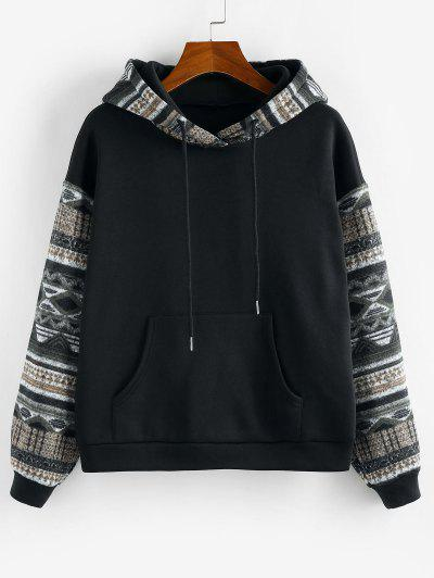 ZAFUL Ethnic Seamless Pattern Drop Shoulder Fleece Lined Hoodie - Multi-e L