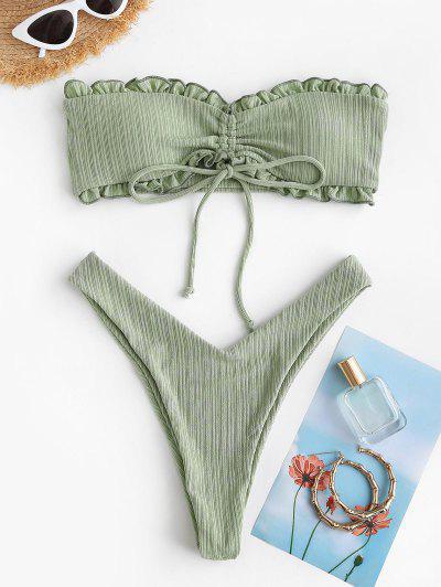 ZAFUL Cinched Ribbed Padded Bandeau Bikini Set - Light Green L