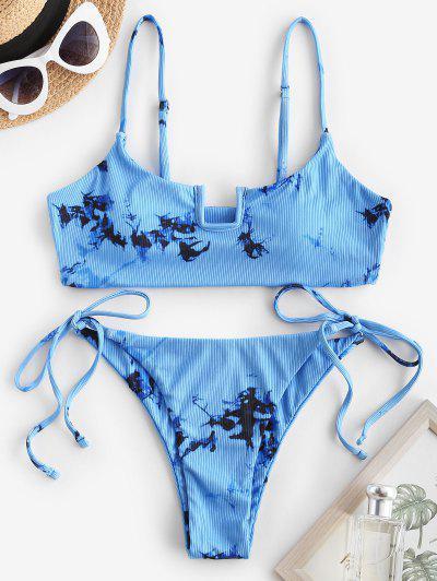 ZAFUL U Wired Tie Dye Tie Side Bikini Swimwear - Blue S