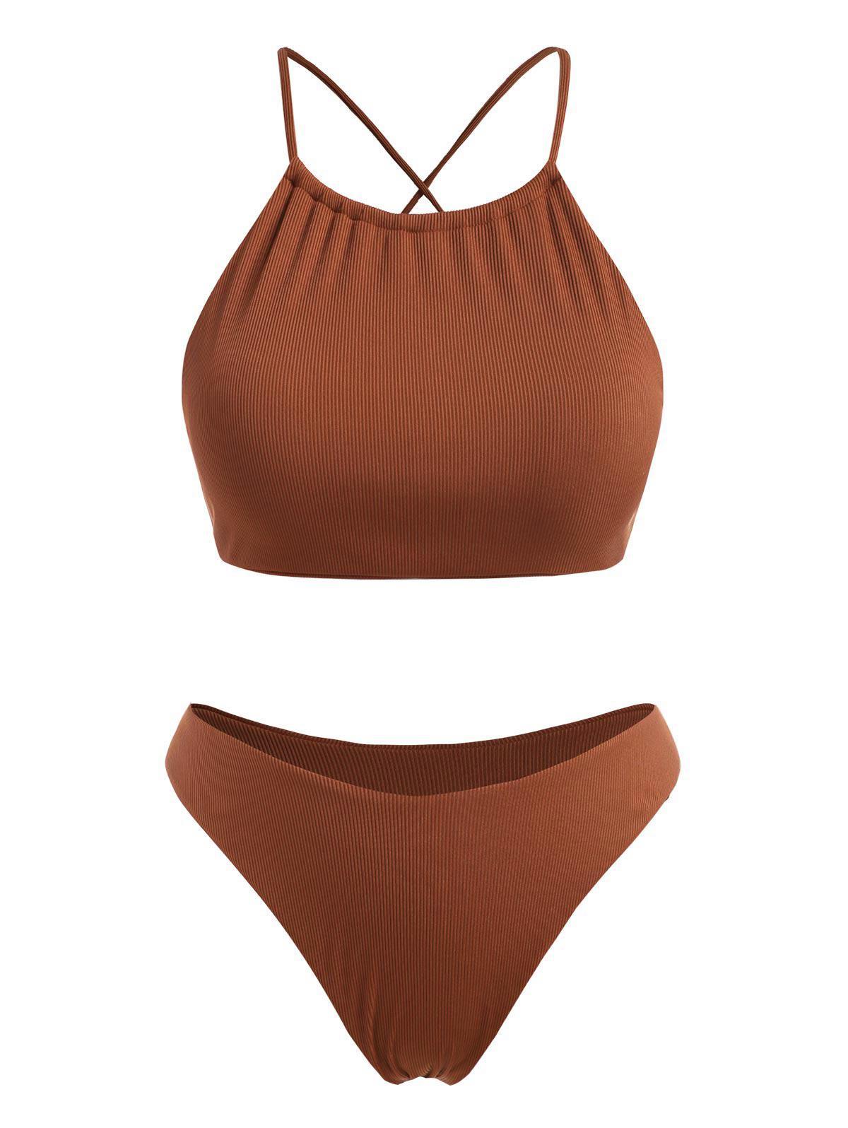 ZAFUL Plus Size Ribbed Crisscross Back High Leg Bikini Swimwear