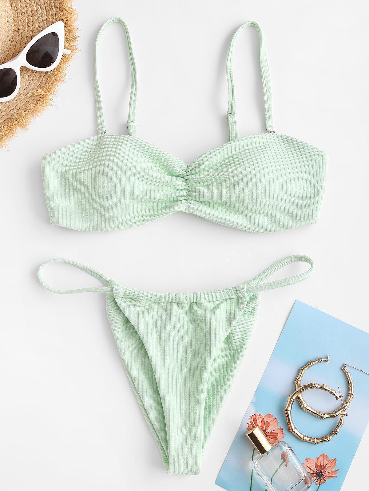 ZAFUL Ribbed Ruched Detail Tanga Bikini Swimwear
