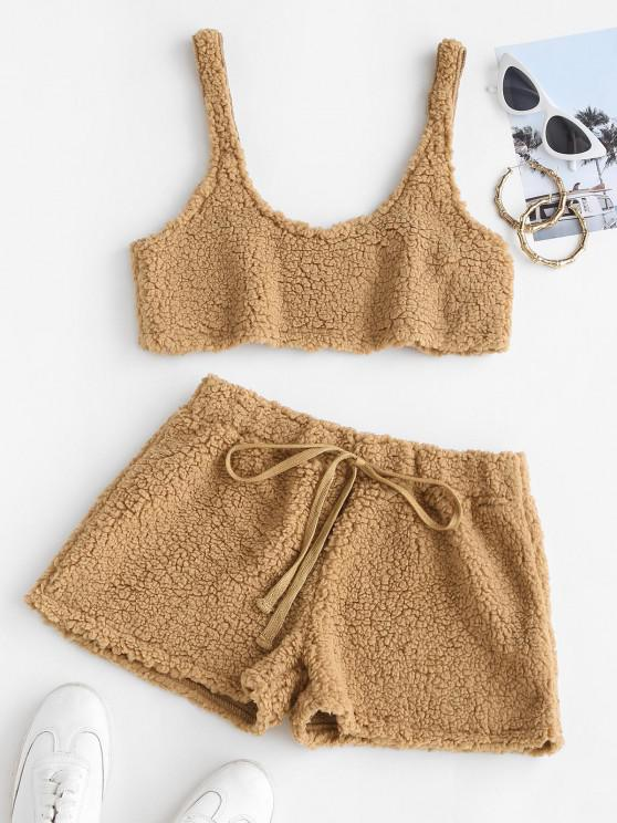affordable Cropped Fluffy Faux Shearling Pajama Set - CAMEL BROWN XL
