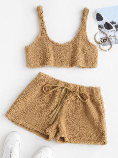 Cropped Fluffy Faux Shearling Pajama Set - Camel Brown M