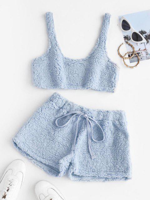 Zugeschnitte Flauschige Künstliche Shearling Pyjama Set - Baby Blau XL Mobile