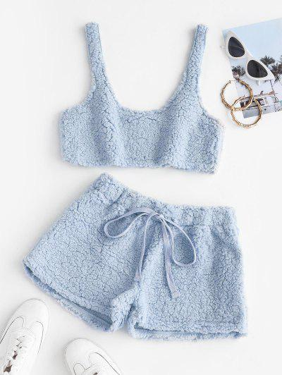 Cropped Fluffy Faux Shearling Pajama Set - Baby Blue S