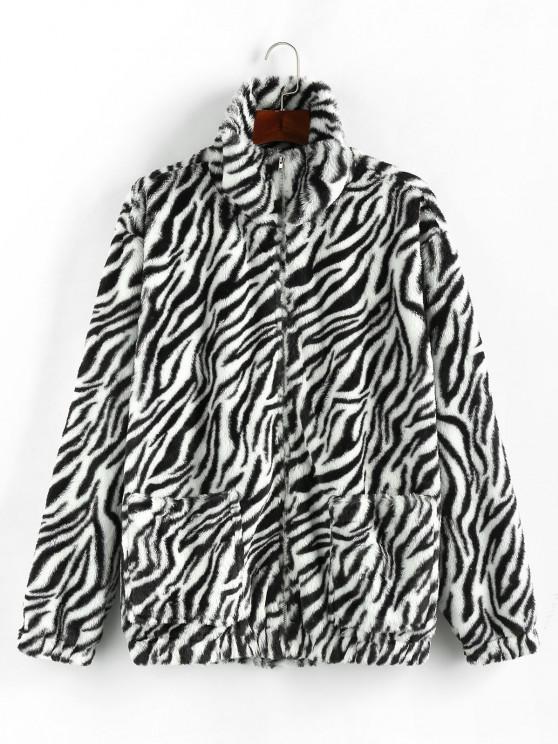 unique ZAFUL Zebra Pattern Faux Fur Fluffy Jacket - BLACK S