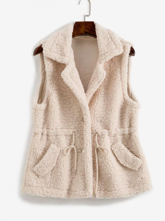 outfit Drawstring Waist Pocket Teddy Vest Coat - LIGHT COFFEE ONE SIZE