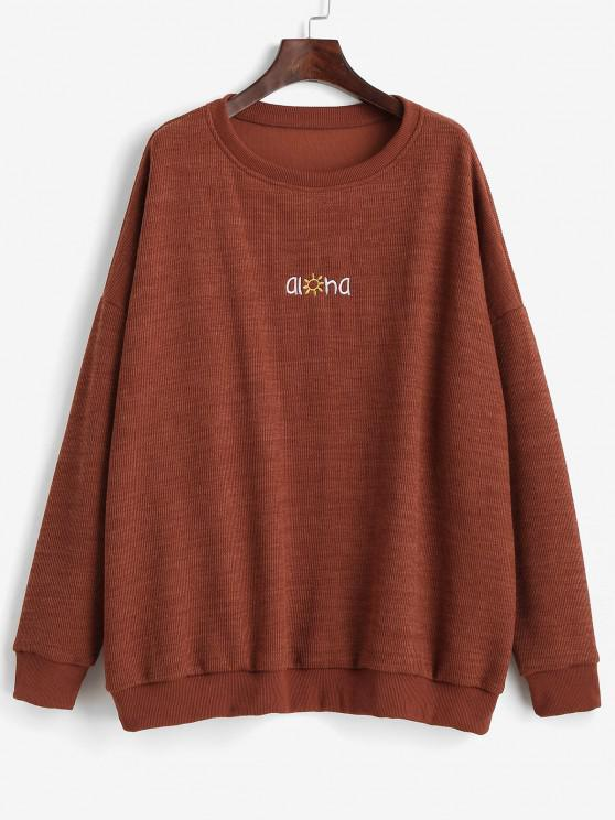 Letter Graphic Embroidered Drop Shoulder Sweatshirt - بنى L