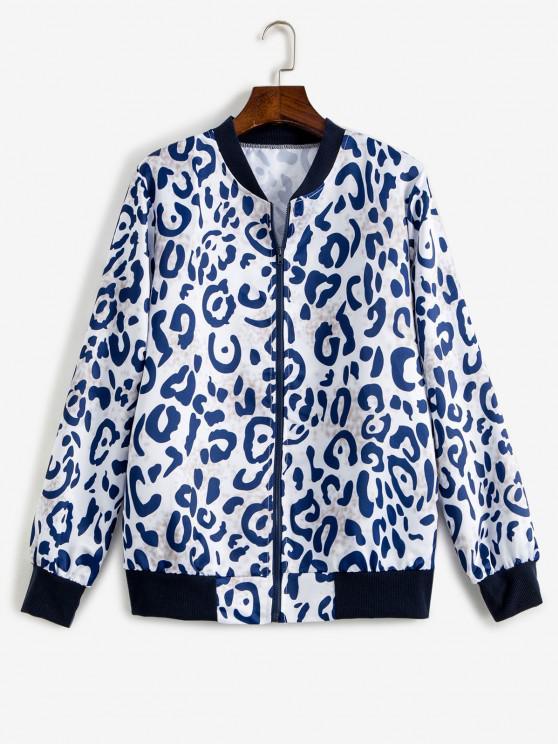 women's Leopard Ribbed Hem Animal Print Zipper Jacket - MULTI L