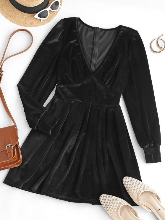 ladies Long Sleeve V Neck Velvet Mini Dress - BLACK M
