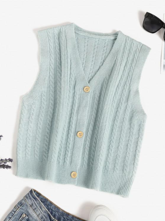 V Neck Button Up Cable Knit Cardigan Vest - اخضر فاتح حجم واحد