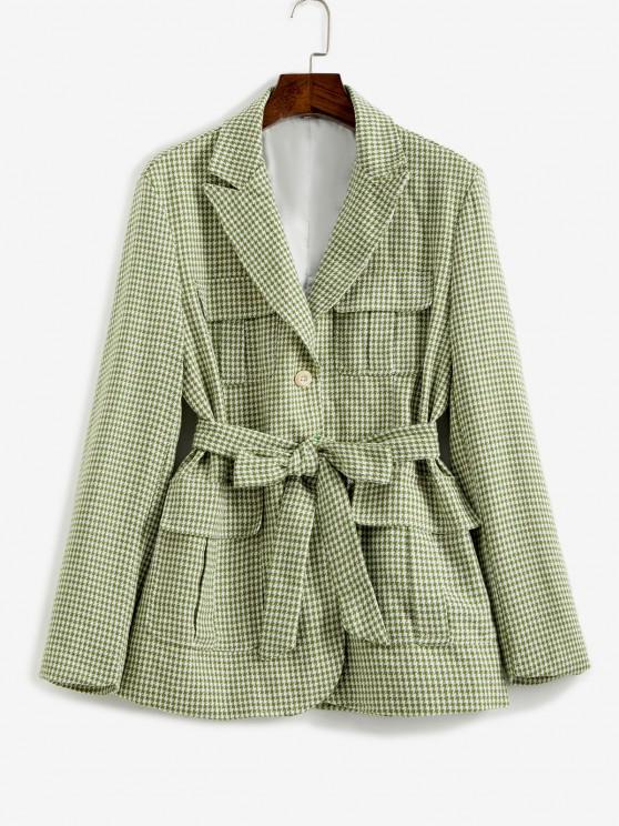 trendy Houndstooth Belted Pocket Blazer - LIGHT GREEN S