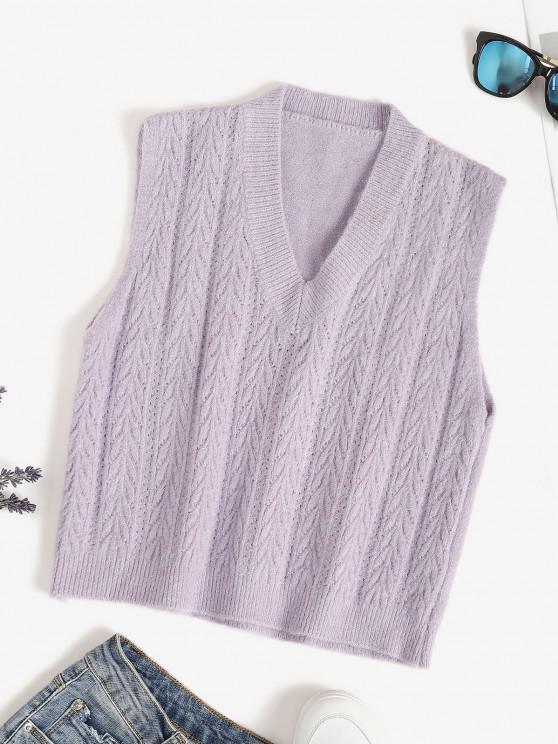 unique V Neck Pointelle Knit Sweater Vest - LIGHT PURPLE ONE SIZE