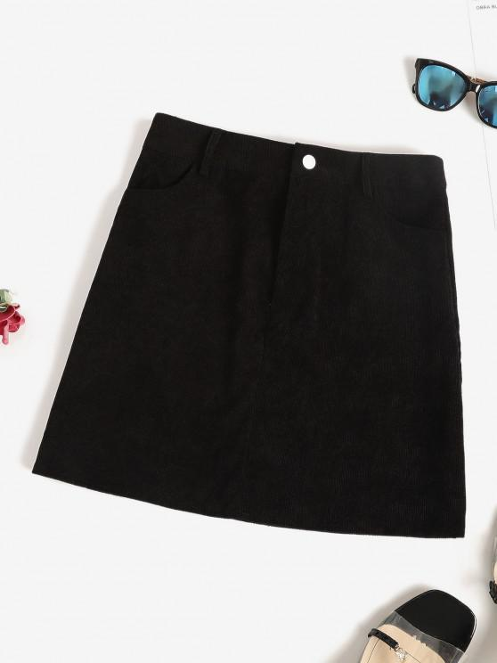 buy High Waisted Corduroy Mini Skirt - BLACK S