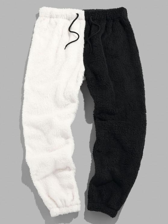 unique ZAFUL Colorblock Fluffy Drawstring Pants - MULTI L