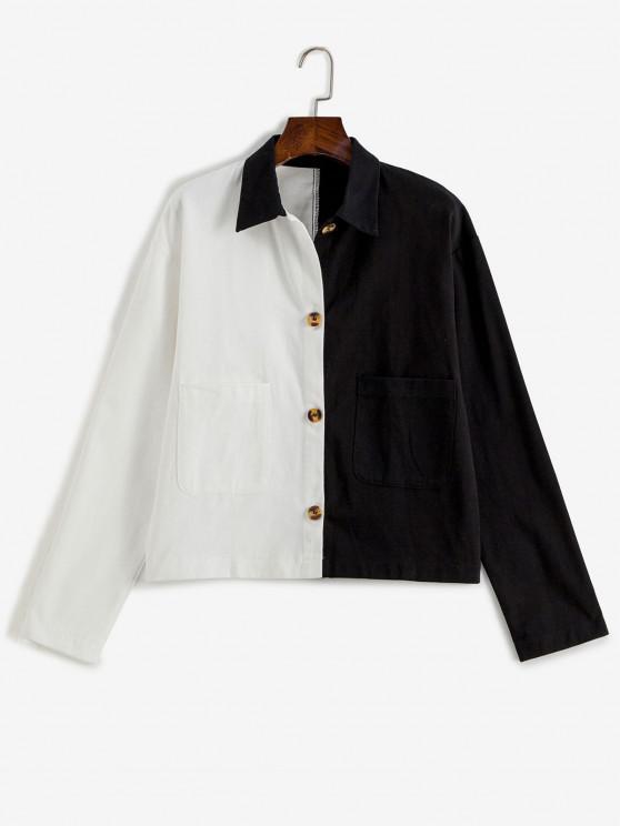 fashion Button Up Pockets Two Tone Jacket - BLACK M
