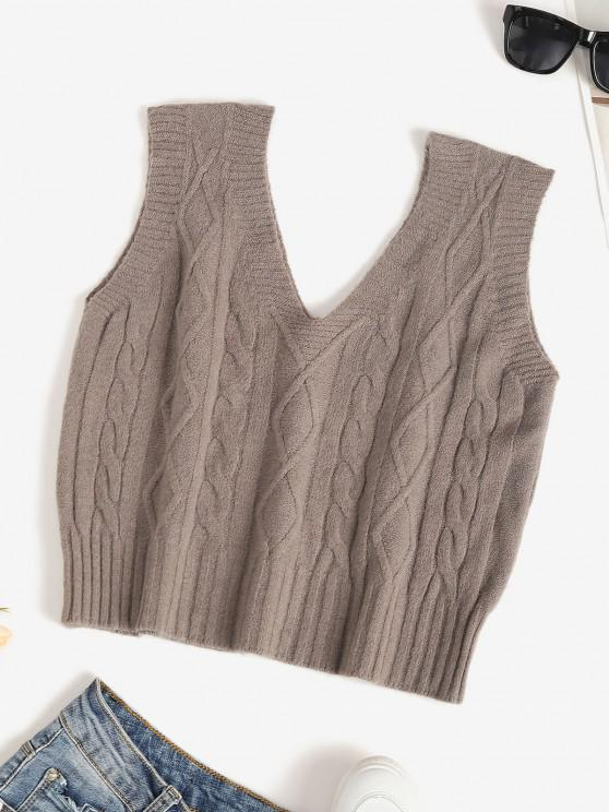 women's Double V Cable Knit Sweater Vest - DEEP COFFEE ONE SIZE