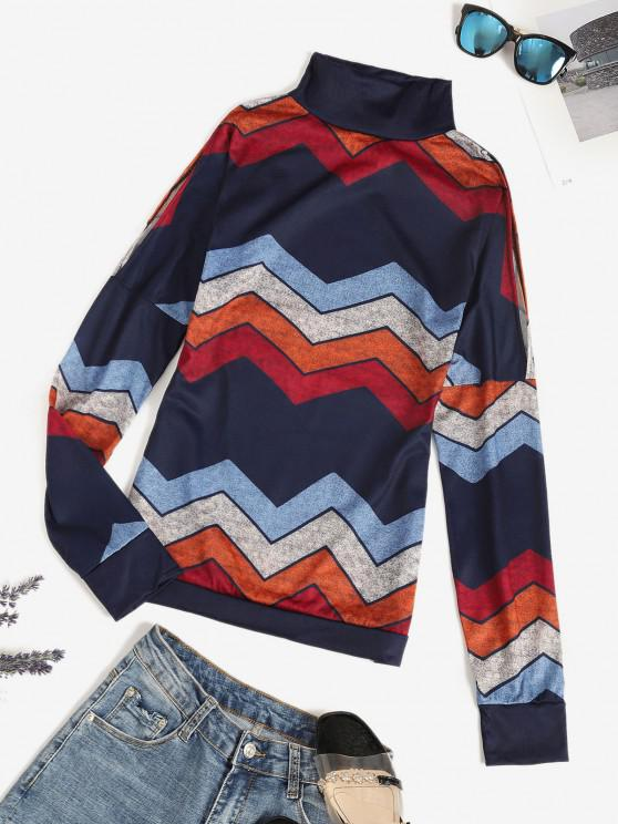 fashion Zigzag Striped Cold Shoulder High Neck Tee - MULTI L
