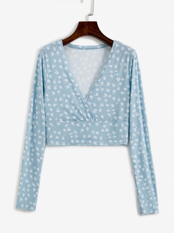 Ditsy Floral Ribbed Surplice Cropped Top - أزرق فاتح L