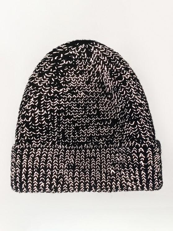 shops Reflective Turn Up Edge Knitted Hat - BLACK