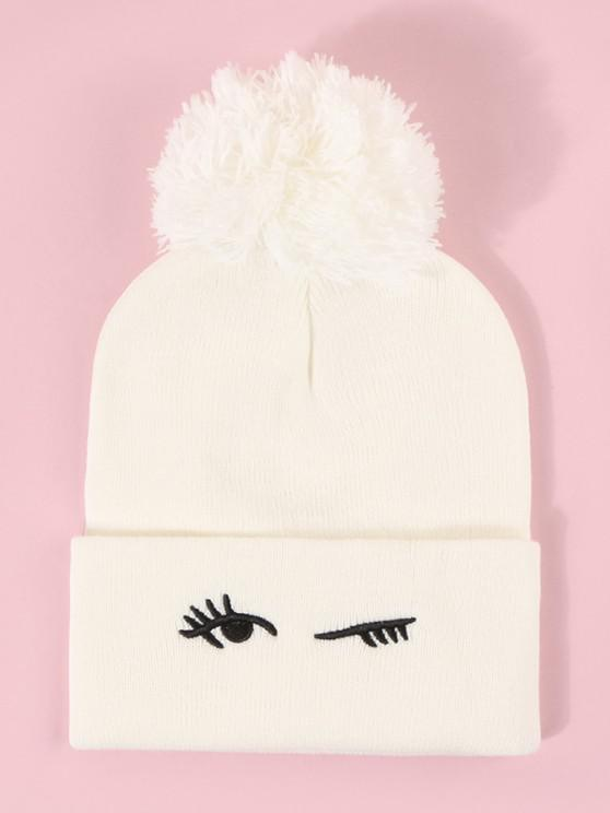 trendy Embroidery Eye Knitted Bubble Hat - MILK WHITE