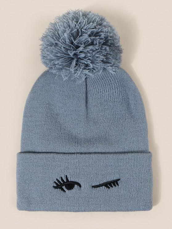 fashion Embroidery Eye Knitted Bubble Beanie - BLUE GRAY