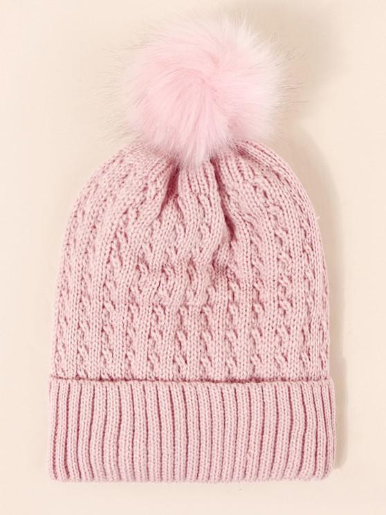 fancy Braid Inner Plush Knitted Bubble Hat - LIGHT PINK