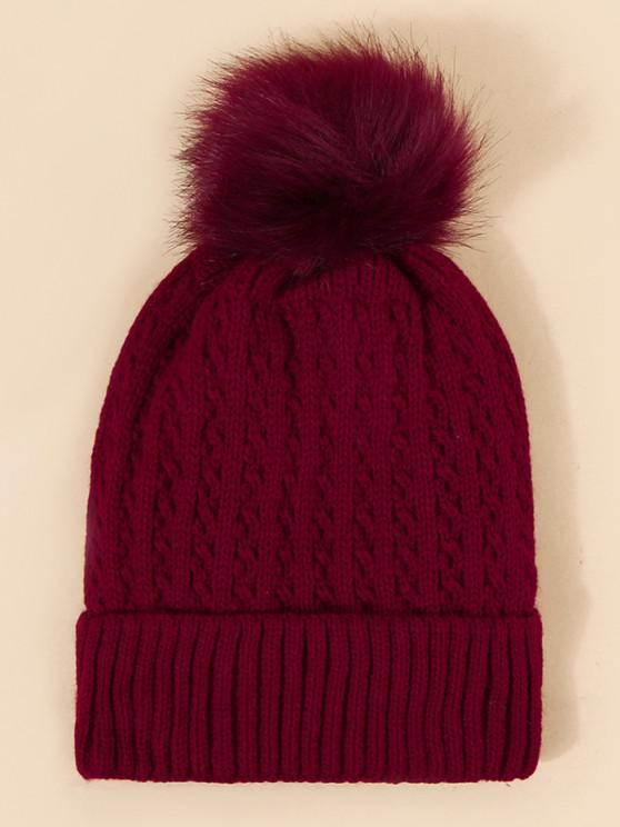 sale Braid Inner Plush Knitted Bubble Beanie - RED WINE