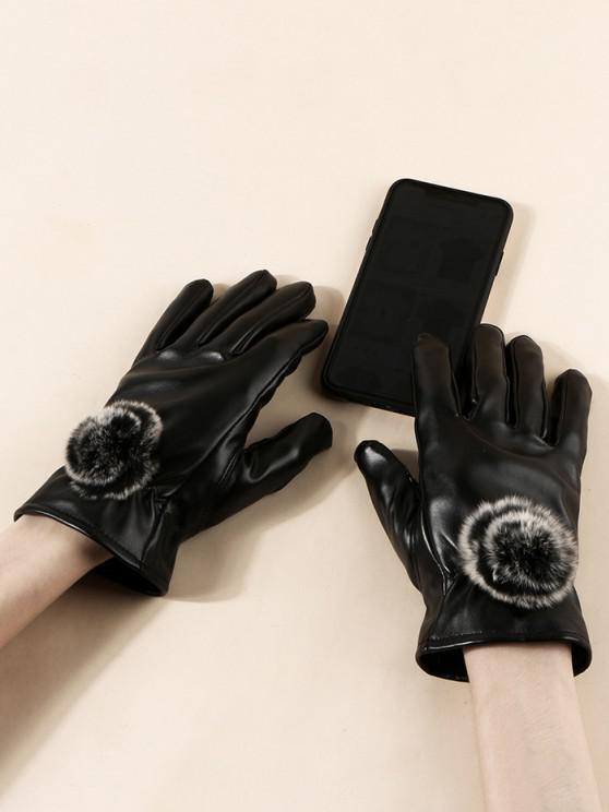affordable Faux Fur Ball PU Gloves - BLACK