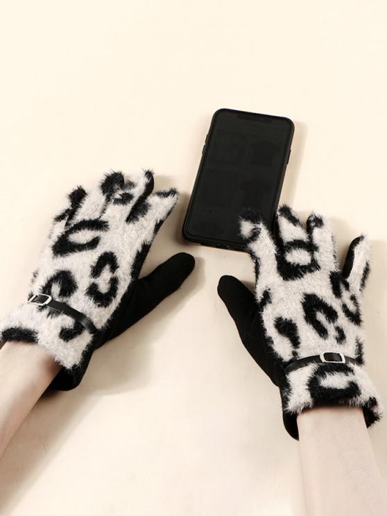 women Buckle Leopard Print Fluffy Gloves - BEIGE