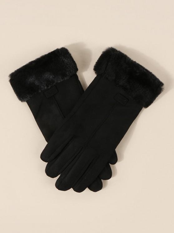 women's Faux Fur Wrist Suede Gloves - BLACK