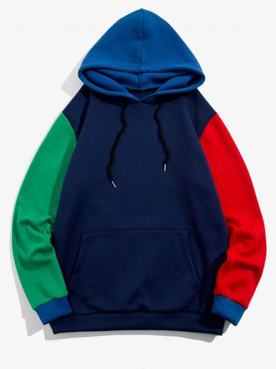 Kangaroo Pocket Contrast Fleece Hoodie - ازرق غامق XL