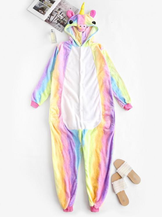 outfit Rainbow Tie Dye Fleece Unicorn Onesie Pajamas - MULTI S