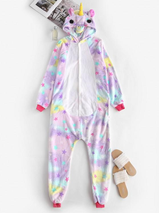 womens Fleece Star Tie Dye Unicorn Onesie Pajamas - LIGHT PURPLE L
