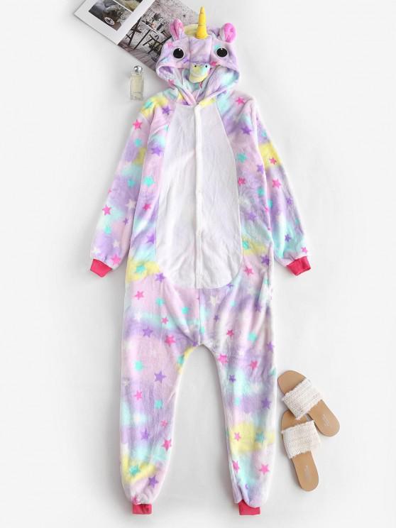 women Fleece Star Tie Dye Unicorn Onesie Pajamas - LIGHT PURPLE M