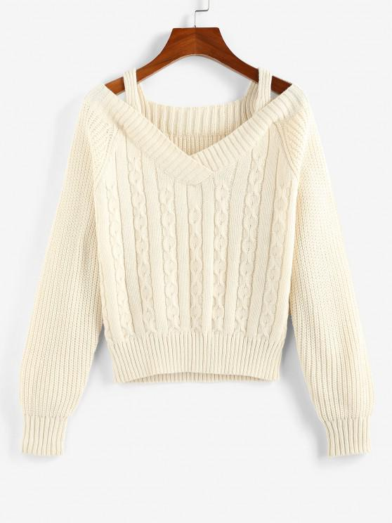 ZAFUL Cable Knit Raglan Sleeve Cutout Jumper Sweater - مشمش L