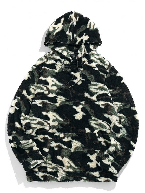 best ZAFUL Camouflage Sherpa Fleece Hoodie - WOODLAND CAMOUFLAGE M