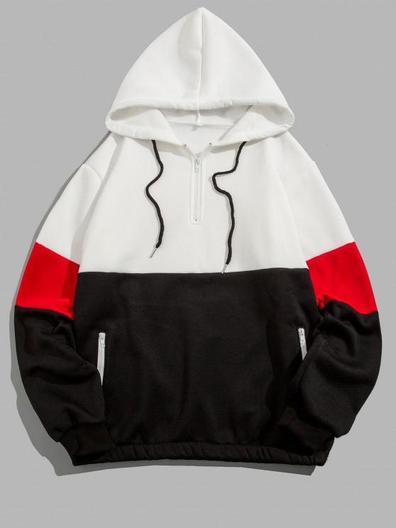 outfit Quarter Zip Contrast Fleece Hoodie - WHITE M