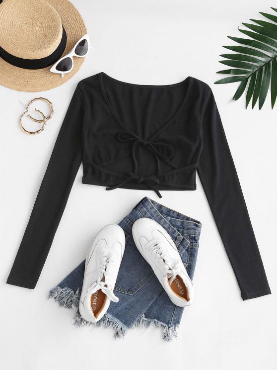 chic Front Tie Plunge Crop T Shirt - BLACK M