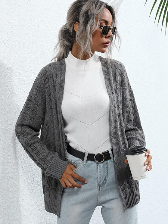 women Cable Knit Front Pocket Open Cardigan - GRAY S