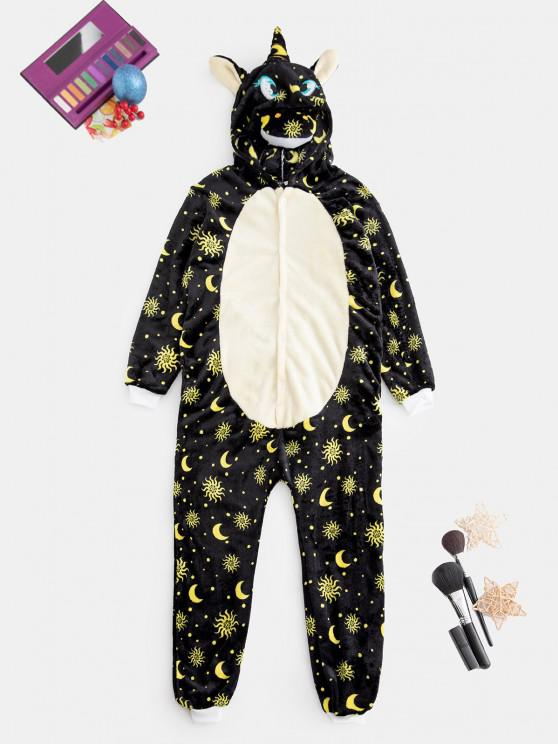 best Plush Sun Moon Pattern Unicorn Costume Pajama Onesie - YELLOW S