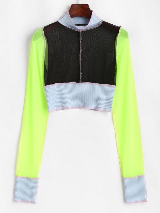 latest Mesh Ribbed Topstitching Colorblock Crop T Shirt - BLACK S