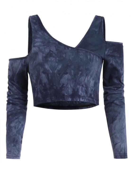 sale Tie Dye Cold Shoulder Crop Baby Tee - BLUE M